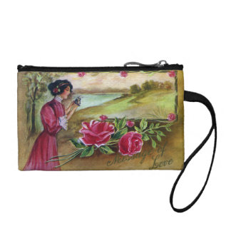 Women with Roses and Pansies Coin Purses
