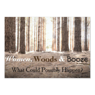 """Women Woods Booze"" Bachelorette Party Invitation"