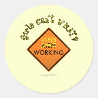 Women Working Construction Sign Classic Round Sticker