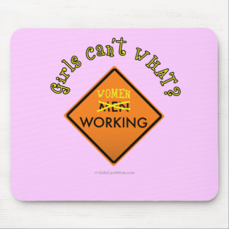 Women Working Construction Sign Mouse Pad