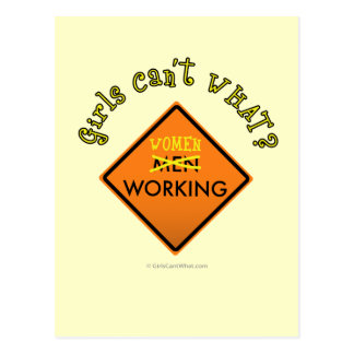 Women Working Construction Sign Postcard