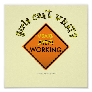 Women Working Construction Sign Poster
