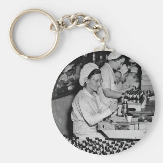 Women Working in Munitions Plant WWII Keychain