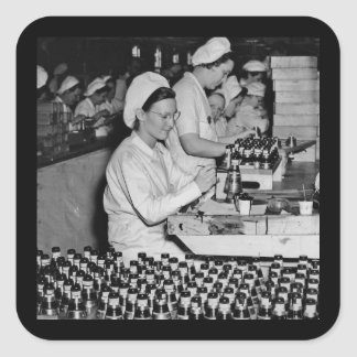 Women Working in Munitions Plant WWII Square Sticker