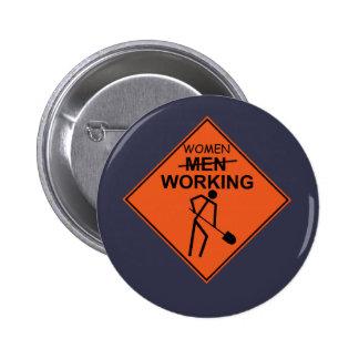 Women Working Pinback Button