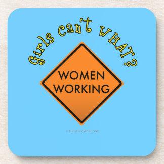Women Working Road Sign Beverage Coasters