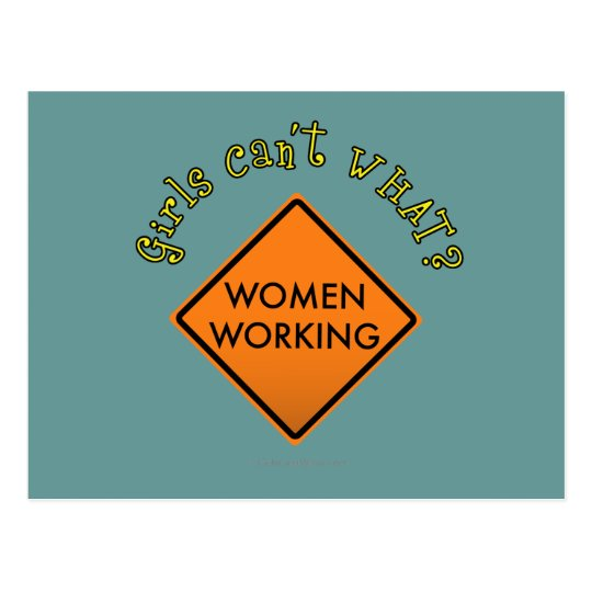 Women Working Road Sign Postcard