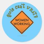 Women Working Sign Classic Round Sticker