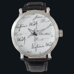 "Women Writers Wrist Watch<br><div class=""desc"">The signatures of four of history's most famous women writers: Jane Austen,  Charlotte Bront&#235;,  Virginia Woolf and Louisa May Alcott.</div>"