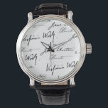 """Women Writers Wrist Watch<br><div class=""""desc"""">The signatures of four of history's most famous women writers: Jane Austen,  Charlotte Bront&#235;,  Virginia Woolf and Louisa May Alcott.</div>"""