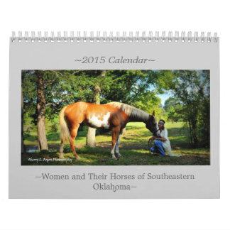 ~Women y sus caballos de Oklahoma~ del sudeste Calendario De Pared
