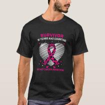Womens 15 Year Survivor Pink Cheetah Print Breast T-Shirt