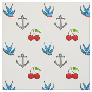 Women's 1950's Bluebird Cherry Anchor Pattern Fabric