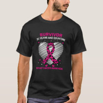 Womens 30 Year Survivor Pink Cheetah Print Breast T-Shirt