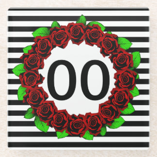 Women's 30th 40th 50th 60th 70th Birthday Red Rose Glass Coaster