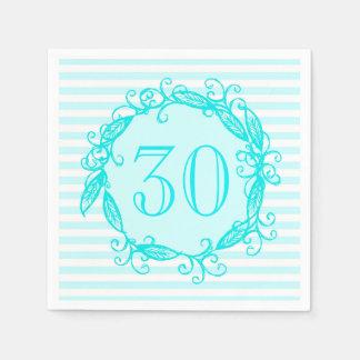 Women's 30th Birthday Aqua Blue White Swirly Paper Napkin