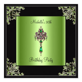 Womens 30th Birthday Party Green Black Jewel 5.25x5.25 Square Paper Invitation Card