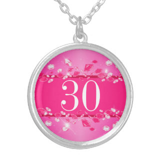 Women's 30th Birthday Pink Sparkly Argyle Diamond Silver Plated Necklace