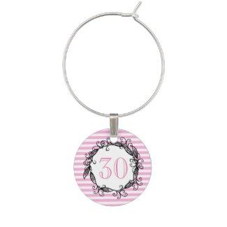 Women's 30th Birthday Pink White Black Swirly Wine Glass Charms