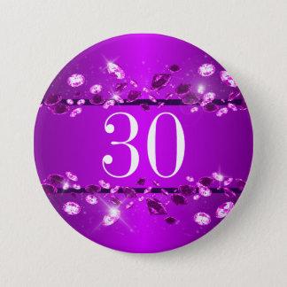 Women's 30th Birthday Sparkly Purple Diamond Pinback Button