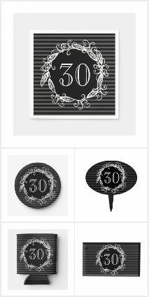 Women's 30th Black Grey Birthday Party