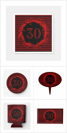 Women's 30th Black Red Birthday Party