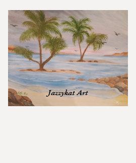 Women's 3/4 Sleeve, Jazzykat Art, Ocean, Palms T-Shirt