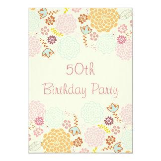"""Womens' 50th Birthday Fancy Modern Floral 5"""" X 7"""" Invitation Card"""