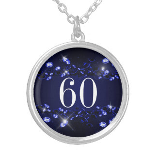 Women's 60th Birthday Blue Black Sparkly Diamond Silver Plated Necklace
