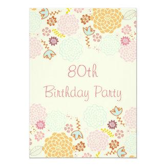 Womens' 80th Birthday Fancy Modern Floral 5x7 Paper Invitation Card