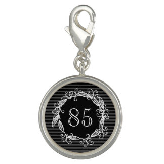 Women's 85th Birthday White Black Grey Swirly Photo Charm