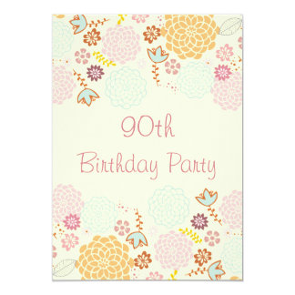 Womens' 90th Birthday Fancy Modern Floral Card