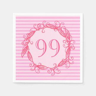 Women's 99th Birthday Beautiful Pink Swirly Napkin