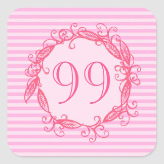 Women's 99th Birthday Beautiful Pink Swirly Square Sticker