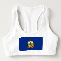 Women's Alo Sports Bra with flag of Vermont, USA
