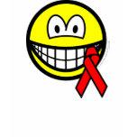 Aids awareness smile Red ribbon  womens_apparel_tshirt