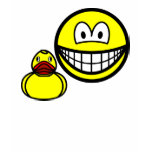 Rubber duck smile playing  womens_apparel_tshirt