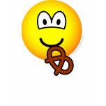 Pretzel eating emoticon   womens_apparel_tshirt