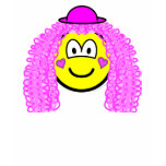 Curly pink hair clown buddy icon   womens_apparel_tshirt