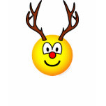 Rudolph the red nosed reindeer emoticon   womens_apparel_tshirt