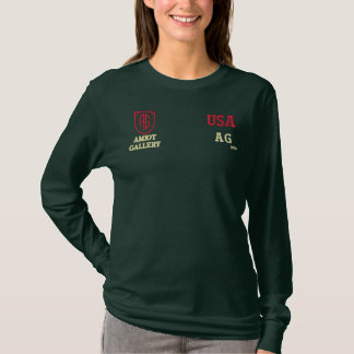 Women's Army Green long sleeves lT-shirt Embroidered Long Sleeve T-Shirt