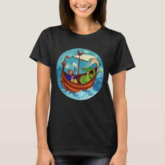 Women's Bagpipe Boat Band dark T-shirt