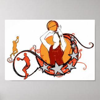 Women's Basketball Illustration Poster