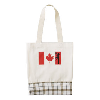 Women's Basketball Player Canadian Flag Zazzle HEART Tote Bag