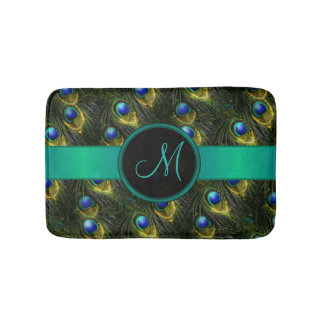 Women's Beautiful Fantasy Sparkly Peacock Feather Bathroom Mat