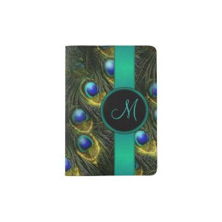 Women's Beautiful Fantasy Sparkly Peacock Feather Passport Holder