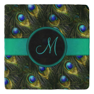 Women's Beautiful Fantasy Sparkly Peacock Feather Trivet