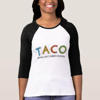 Women's Bella 3/4 Sleeve TACO T-Shirt, White/Black Tee Shirt