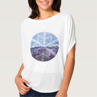 Women's Bella Flowy Circle Top, White Snowflake T-Shirt