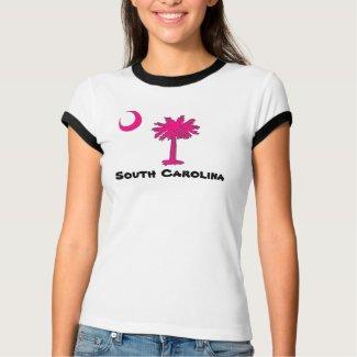 Women's Bella Ringer T-Shirt, White/Black SC Logo Tee Shirt
